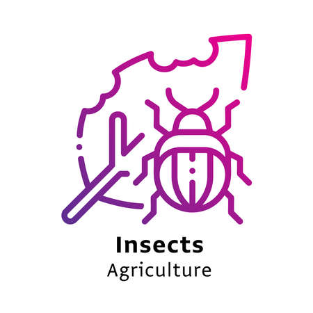 Insect Agriculture written black color with amazing purple gradient icon Illustration