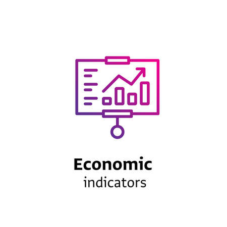 Economic Indicators written black color with amazing purple gradient icon presentation slide