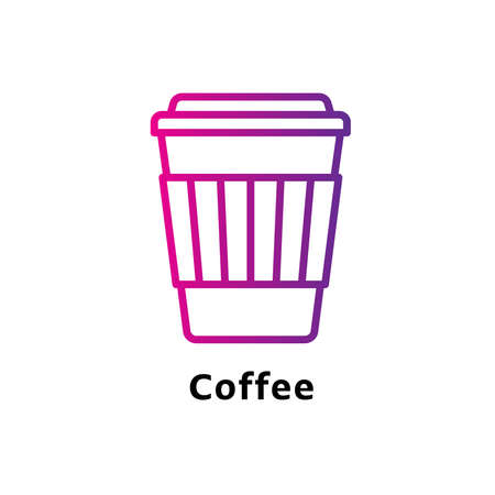 Coffee written black color with amazing purple gradient icon Illustration
