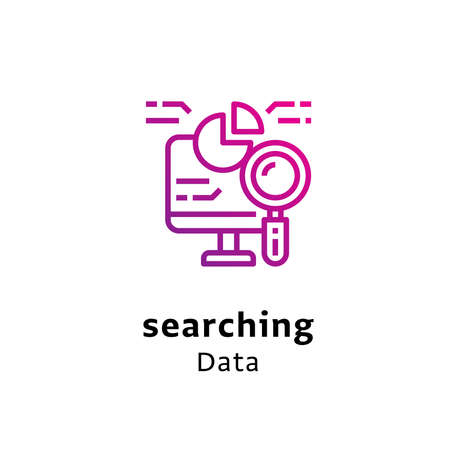 Searching Data written black color with amazing purple gradient icon Illustration