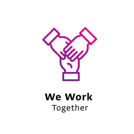 We Work Together written black color with amazing purple gradient hands icon Illustration