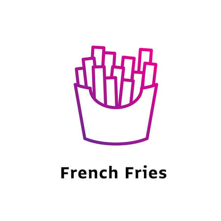 French Fries written black color with amazing purple gradient icon