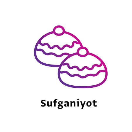 Sufganiyot written black color with amazing purple gradient icon