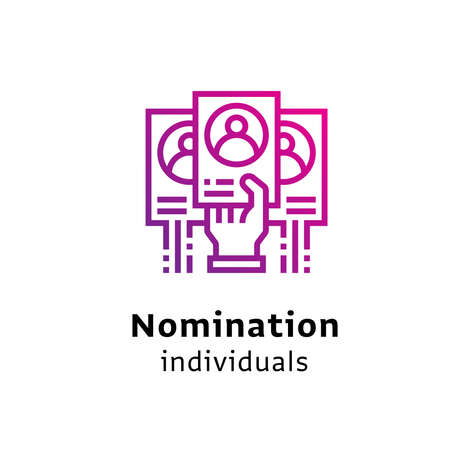 Nomination Individuals written black color with amazing purple gradient icon hand holding card