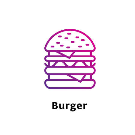 Burger written black color with amazing purple gradient icon
