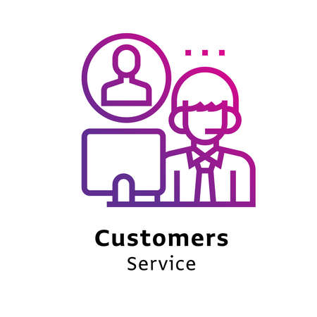 Customers Services written black color with amazing purple gradient icon