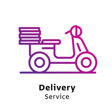 Delivery Service written black color with amazing purple gradient icon