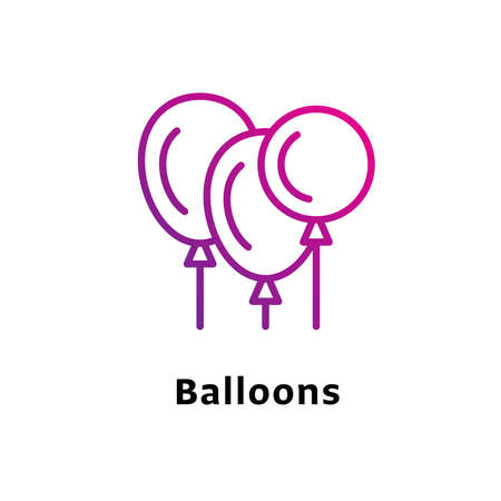 Balloons written black color with amazing purple gradient icon
