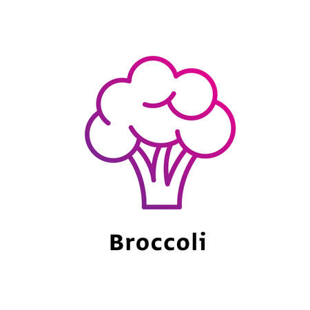 Broccoli written black color with amazing purple gradient icon