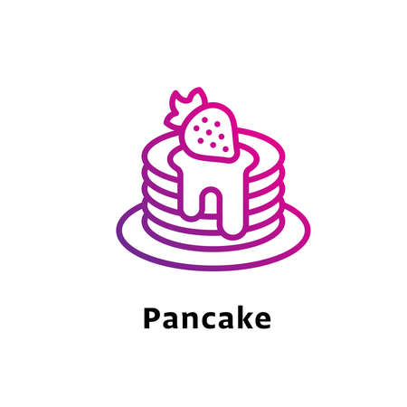 Pancake written black color with amazing purple gradient icon