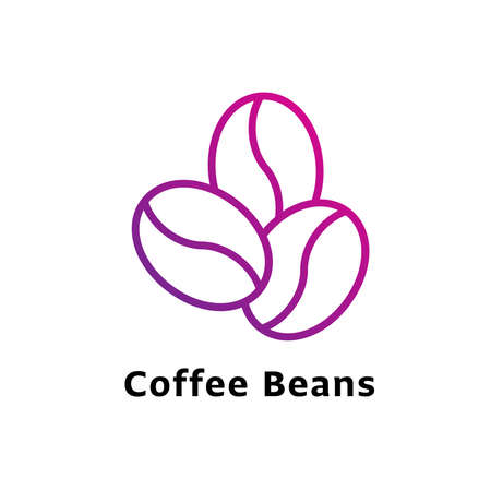 Coffee Beans written black color with amazing purple gradient icon