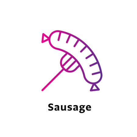 Sausage written black color with amazing purple gradient icon