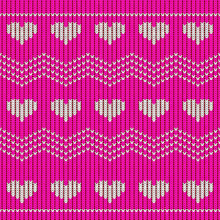 Valentine day red knitted seamless pattern with hearts