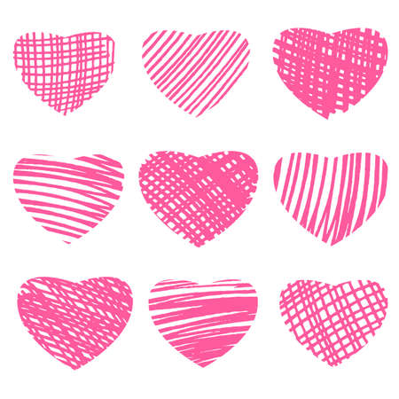 Marker hand drawn hearts. Vector illustration for your design