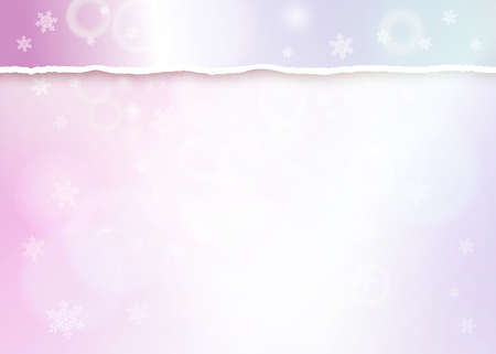 Pastel pink bokeh background with with turn paper edge, snowflakes and light effects. Merry Christmas on Happy New Year banner or header. Vectores