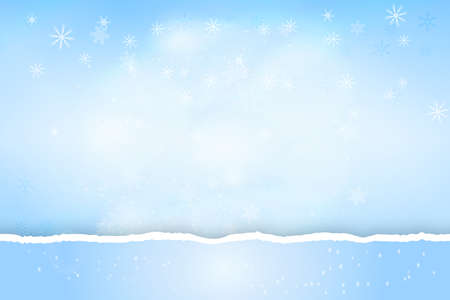 Pastel blue bokeh background with with turn paper edge, snowflakes and light effects. Merry Christmas on Happy New Year banner or header.