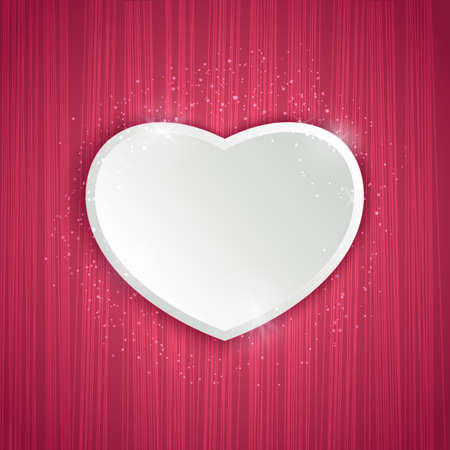 Valentines day background with stipe texture and heart. Vector illustration for web or print design. Invitation, banner, brochure, header, wallpaper, flyer.