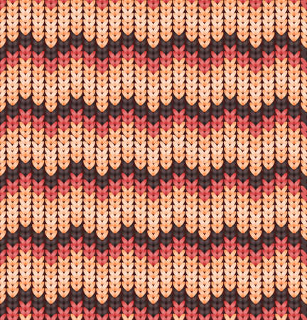 Knitter seamless pattern with stripes and zigzag. Colorful texture, vector background. Retro seamless pattern with pink and brown colors.