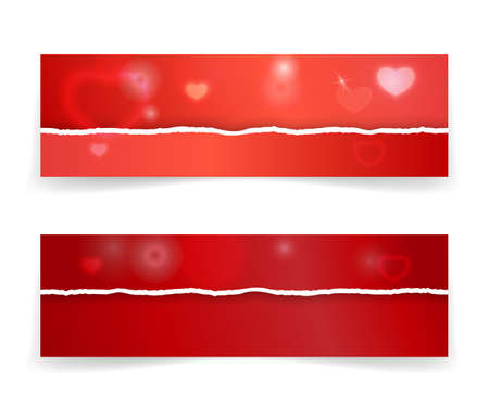 Bright red gift voucher template with realistic torn paper borders, hearts and lights effects. Vector illustration for valentine's day web headers or advertising, coupon, ticket.