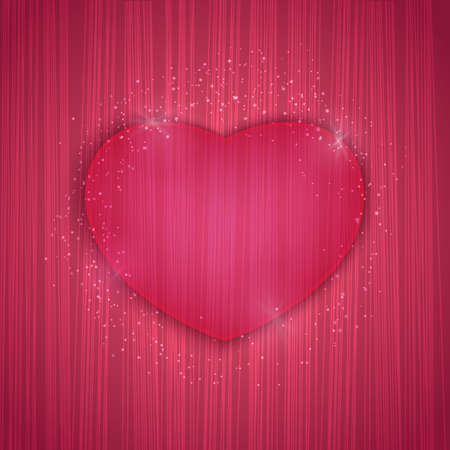Valentines day background with stripe texture and heart. Vector illustration for web or print design. Invitation, banner, brochure, header, wallpaper, flyer Vectores