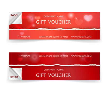 Bright red gift voucher template with realistic torn paper borders, hearts and lights effects. Vector illustration for valentine's day web headers or advertising, coupon, ticket or disclunt card Vectores
