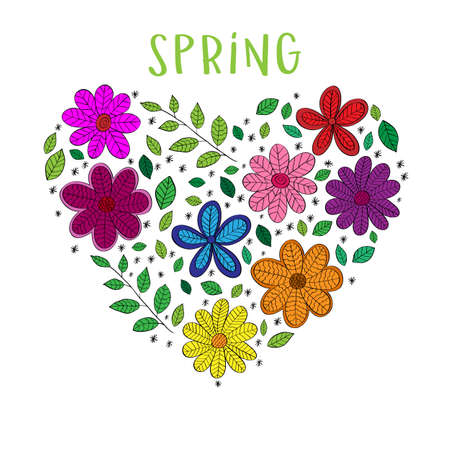 Hello Spring floral heart isolated on white background. Vector template for greeting card, invitation, poster, banner, voucher, wallpaper, flyer, brochure, coupon discount.