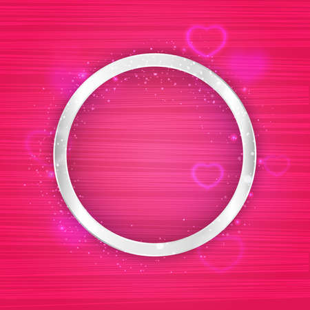 Vector round silver frame with lights effect and hearts on bright light pink background. Shining banner with stars and glitter. Vector template Vectores