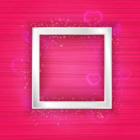 Vector square silver frame with lights effect and hearts Vectores