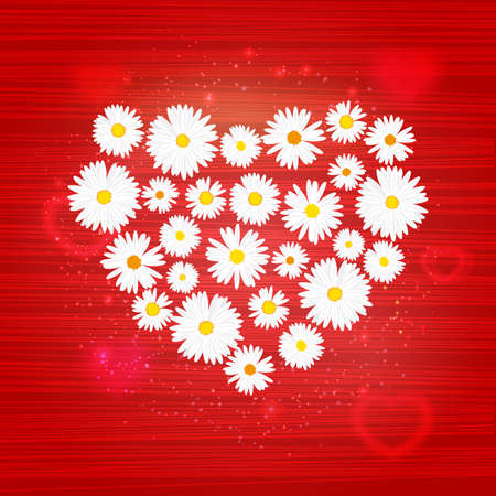 Vector floral heart with lights effect on bright red background. Shining banner with stars and glitter. Vector template