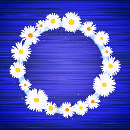 Vector round floral frame with lights effect on bright blue background. Shining banner with stars and glitter. Vector template.