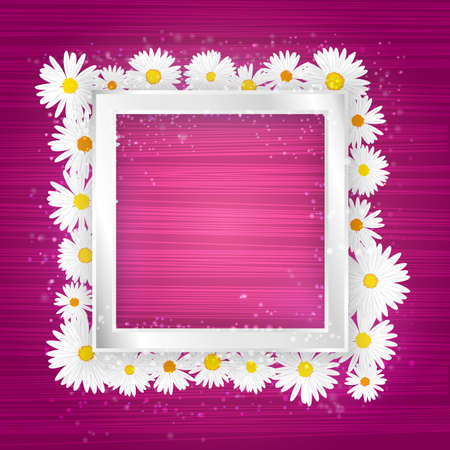 Vector square floral frame with lights effect on bright pink background. Shining banner with stars and glitter. Vector template