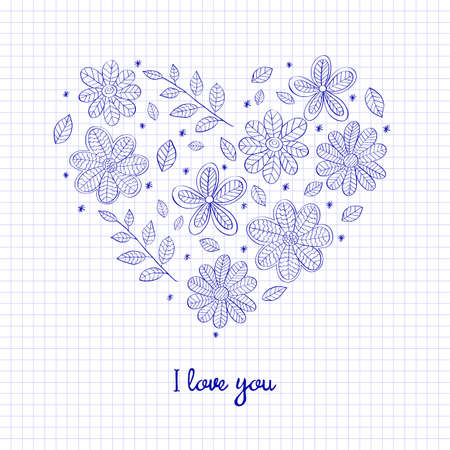 Hello Spring floral heart isolated on the checkered notebook sheet template for greeting cards illustration.