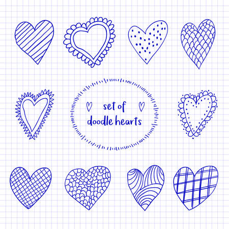Set of hand drawn sketch doodle hearts on the checkered notebook sheet for Valentines Day design illustration.