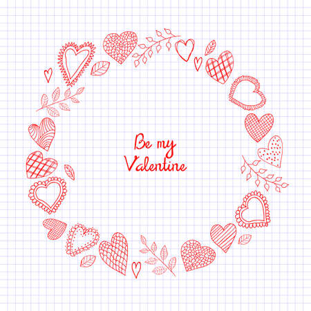 Sketch Doodle hearts frame on the checkered notebook sheet for valentines day card illustration.