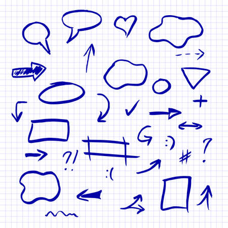 Hand drawn of Arrows, math symbols, numbers, speech bubbles, correction and highlight elements on the checkered notebook sheet illustration. Vectores