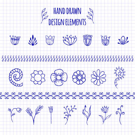 Set of hand-drawn doodle elements and seamless borders. Sketch style illustration with flowers and leaves. Rustic decorative line borders, tribal decorative elements. For patterns, scrapbooking