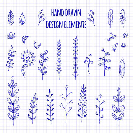Set of hand-drawn doodle elements. Sketch style vector illustration with flowers, branch, laurel wreath and leaves. Rustic decorative line borders, tribal decorative elements. Vectores