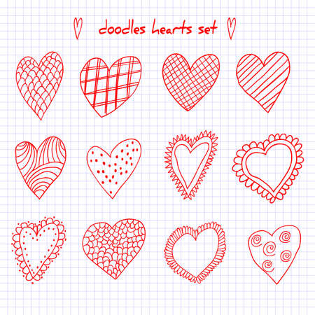 Set of hand drawn doodle hearts. Vector illustration