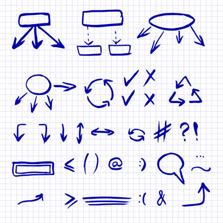 Hand drawn vector illustration set isolated on the checkered notebook sheet. Arrows, math symbols, numbers, speech bubbles, correction and highlight elements. Doodle sketch icons.