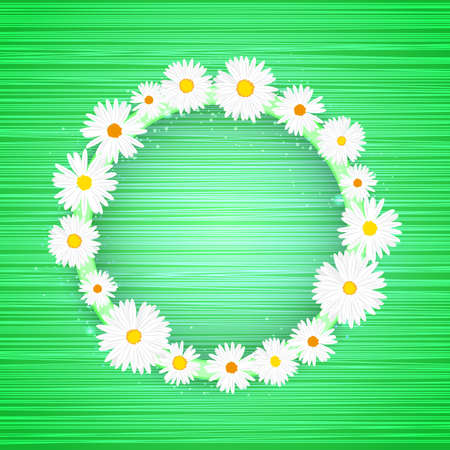 Vector round floral frame with lights effect on bright light green background. Shining banner with stars and glitter. Vector template Vectores