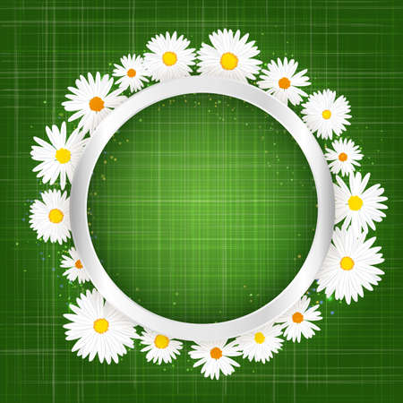 Round floral frame with daisy and lights effect on bright green background. Shining banner with chamomile, stars and glitter. Vector template.