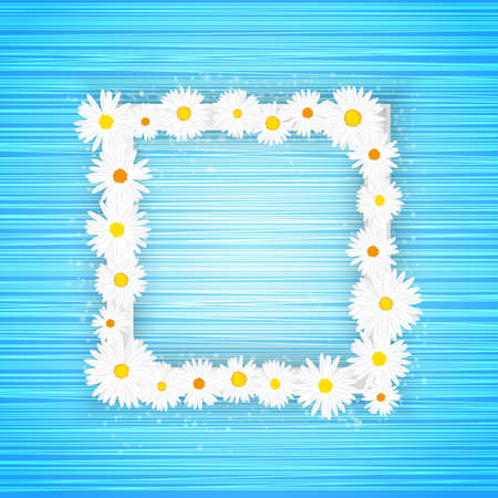 Vector square floral frame with lights effect on bright light blue background. Shining banner with stars and glitter. Vector template Vectores