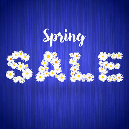 Spring Sale floral banner template with lights effect on bright blue background. Vector illustration for advertising, coupon, flyer, header. Feminine sale tag. Vectores