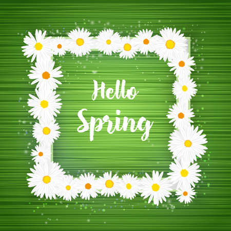 Vector square Hello Spring floral frame with lights effect on bright green background. Shining banner with stars and glitter. Vector template