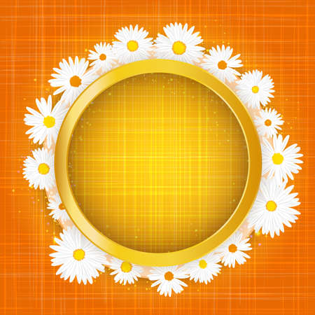 Round floral frame with lights effect on bright orange background. Shining banner with stars and glitter. Vector template