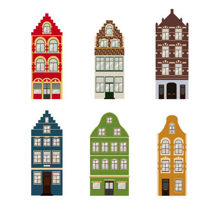 Cute retro houses exterior set. Collection of European building facades. Traditional architecture of Belgium and Netherlands. Vector icons Vectores