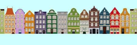 Nahtlose Grenze der niedlichen Retrohäuser außen. Sammlung europäischer Gebäudefassaden. Traditionelle Architektur von Belgien und den Niederlanden