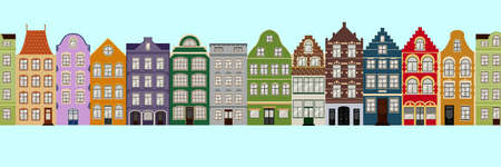 Seamless Border of Cute retro houses exterior. Collection of European building facades. Traditional architecture of Belgium and Netherlands
