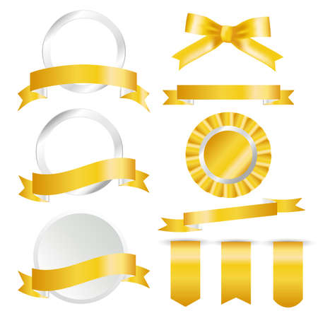 Golden Ribbons, flag and labels Set isolated On White Background. Vector Illustration for your design. Vectores