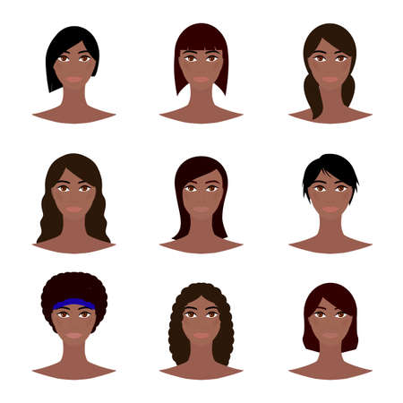 African American female avatar set, woman faces icons. Young girls with various hair style. Black female character design. Vector illustration.